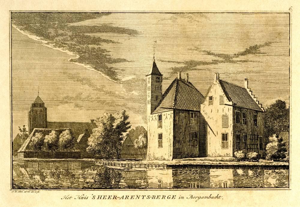 Slot `s Heeraartsberg in Bergambacht. Tekening Abraham de Haen, eigen gravure